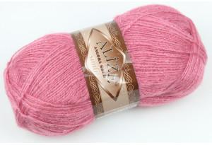Пряжа Alize Angora Gold Simli, #677, ярко-розовая