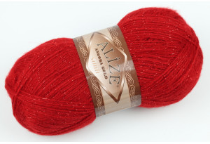 Пряжа Alize Angora Gold Simli, #106, красная