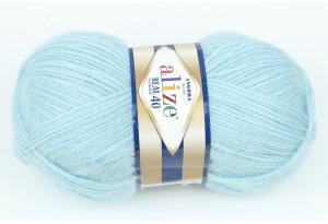 Пряжа Alize Angora Real 40, #114, небесно-голубая