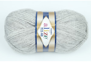 Пряжа Alize Angora Real 40, #614, серо-белый меланж