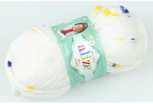 Пряжа Alize Baby Flower, #5874, белая