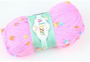 Пряжа Alize Baby Flower, #5382, темно-розовая