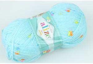Пряжа Alize Baby Flower, #5384, голубая