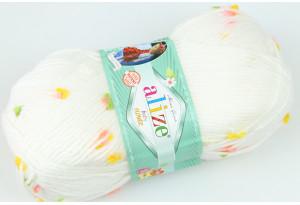 Пряжа Alize Baby Flower, #5408, белая