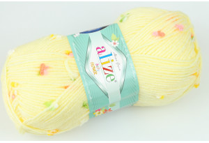 Пряжа Alize Baby Flower, #5412, светло-желтая