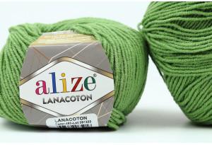 Пряжа Alize LanaCoton, #485, оливковая