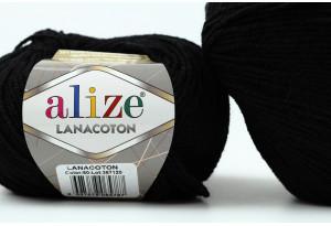 Пряжа Alize LanaCoton, #60, черная