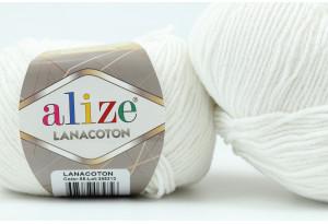 Пряжа Alize LanaCoton, #55, белая