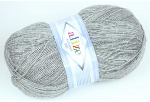Пряжа Alize LanaGold 800, #21, серый меланж