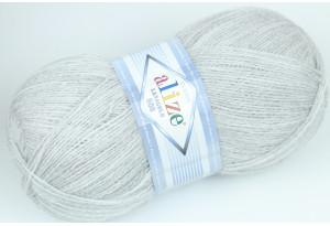 Пряжа Alize LanaGold 800, #684, светло-серый меланж
