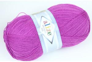 Пряжа Alize LanaGold 800, #260, фиолетовая фуксия