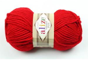 Пряжа Alize LanaGold Plus, #56, красная