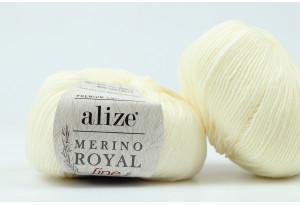 Пряжа Alize Merino Royal Fine, #62, кремовая