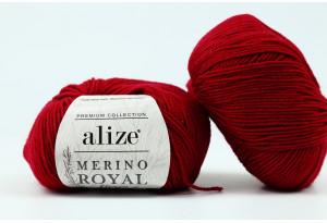 Пряжа Alize Merino Royal Fine, #390, вишневая