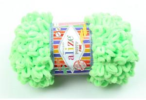 Пряжа Alize Puffy Fine, #516, ярко-зеленая