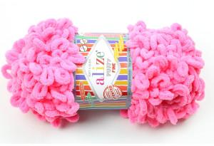 Пряжа Alize Puffy Fine, #121, ярко-розовая