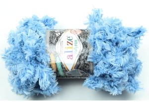 Пряжа Alize Puffy Fur, #6106, голубая