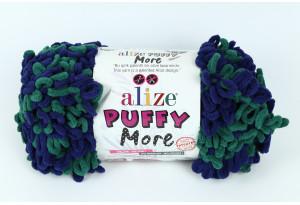 Пряжа Alize Puffy More, #6293, синяя с взеленым