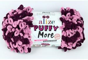 Пряжа Alize Puffy More, #6278, баклажанная с розовым