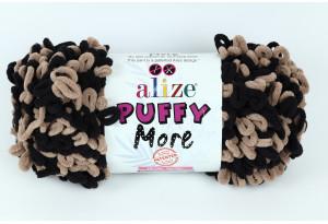 Пряжа Alize Puffy More, #6289, черная с бежевым