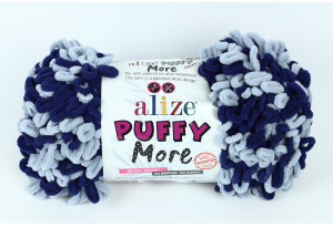 Пряжа Alize Puffy More, #6279, синяя с голубым