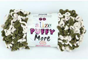 Пряжа Alize Puffy More, #6264, хаки с белым