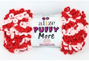 Пряжа Alize Puffy More, #6280, красная с розовым