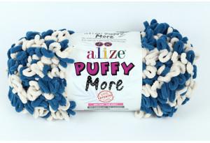 Пряжа Alize Puffy More, #6263, бирюзовый с кремовым