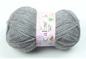 Пряжа Alize Sekerim Baby, #197, серый меланж