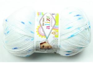 Пряжа Alize Sekerim Mini Colors, #3429, белая