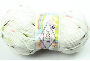 Пряжа Alize Sekerim Mini Colors, #6198, белая