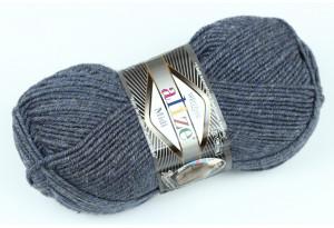 Пряжа Alize SuperLana Midi, #902, темно-голубой с серым, меланж