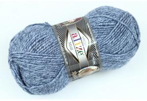 Пряжа Alize SuperLana Midi, #806, голубая с серым, меланж