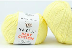 Пряжа Gazzal Baby Cotton, #3413, светло-желтая