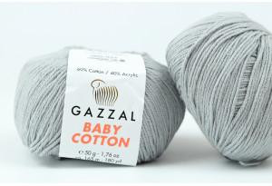 Пряжа Gazzal Baby Cotton, #3430, серая