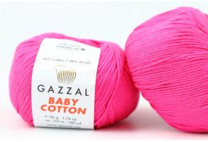 Пряжа Gazzal Baby Cotton, #3461, ярко-розовая