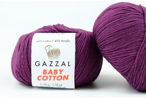 Пряжа Gazzal Baby Cotton, #3441, баклажанная