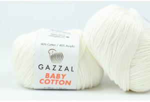 Пряжа Gazzal Baby Cotton, #3410, айвори