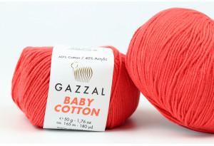 Пряжа Gazzal Baby Cotton, #3418, коралловая