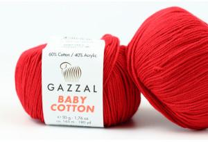 Пряжа Gazzal Baby Cotton, #3439, красная