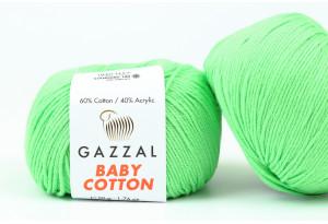 Пряжа Gazzal Baby Cotton, #3466, ярко-зеленая