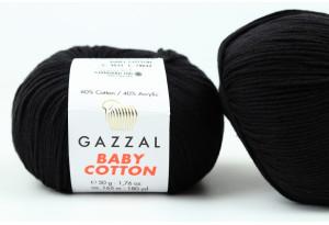 Пряжа Gazzal Baby Cotton, #3433, черная
