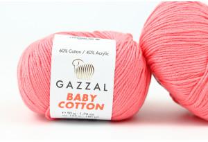 Пряжа Gazzal Baby Cotton, #3435, светло-коралловая