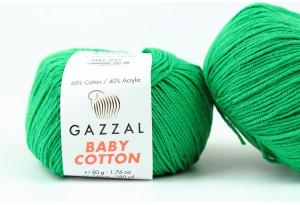 Пряжа Gazzal Baby Cotton, #3456, зеленая