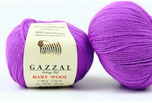 Пряжа Gazzal Baby Wool, #815, тепло-фиолетовая