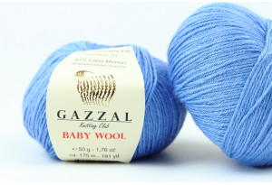 Пряжа Gazzal Baby Wool, #813, светло-синяя