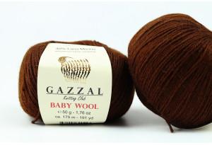 Пряжа Gazzal Baby Wool, #807, шоколадная