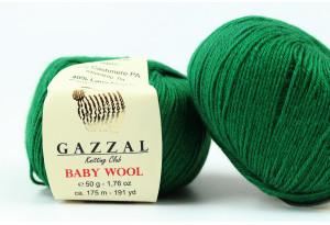 Пряжа Gazzal Baby Wool, #814, темно-зеленая