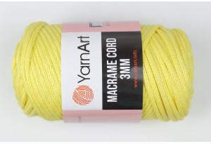 Пряжа YarnArt Macrame Cord 3mm, #754, желтая