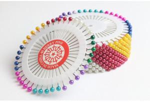 Швейные булавки с шариком, 40 шт., микс